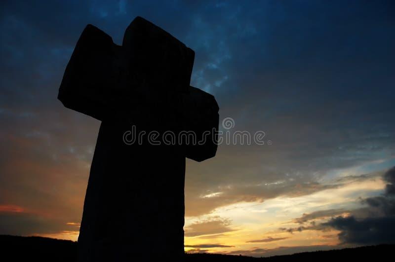 Dark cross silhouette stock photos