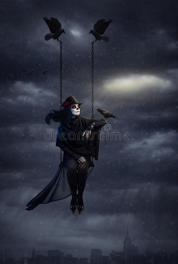 Dark crow queen royalty free stock images
