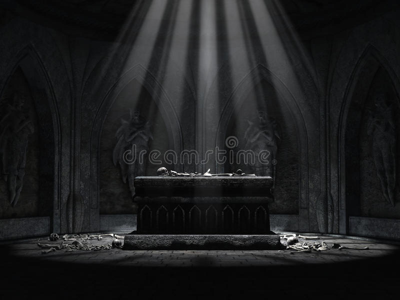 Dark crypt with a creepy altar. Old crypt with sculptures, an altar and skeletons lying on the floor royalty free illustration