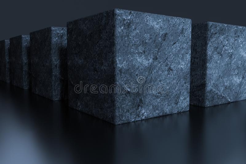 Dark cubes randomly distributed in the air, 3d rendering. Computer digital background, element, sci-fi, decorative, grey, gradient, pattern, poster, tech royalty free illustration