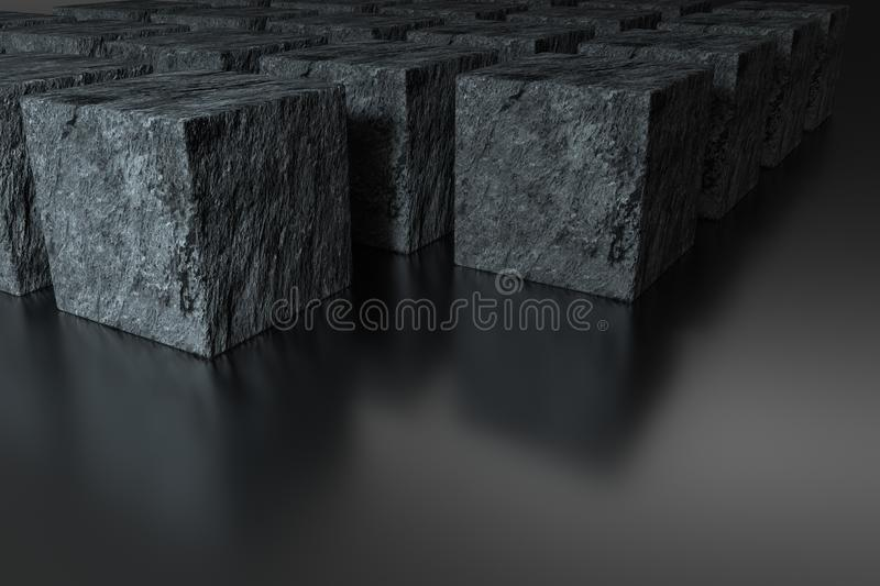 Dark cubes randomly distributed in the air, 3d rendering. Computer digital background, element, sci-fi, decorative, grey, gradient, pattern, poster, tech vector illustration