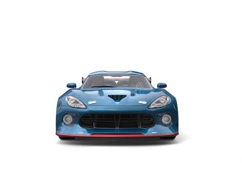 Dark cyan fast sportscar - front view royalty free illustration