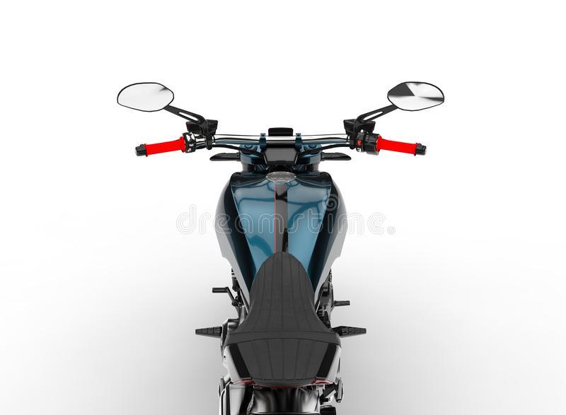 Dark cyan metallic chopper motorcycle - riders point of view shot. Isolated on white background vector illustration