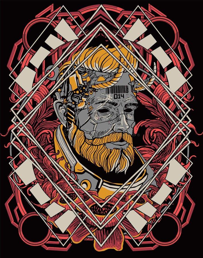 Free Dark Cyborg Robot Warrior Head Masker Cyberpunk Background For T-shirt Poster Sticker Design Stock Photo - 163891880