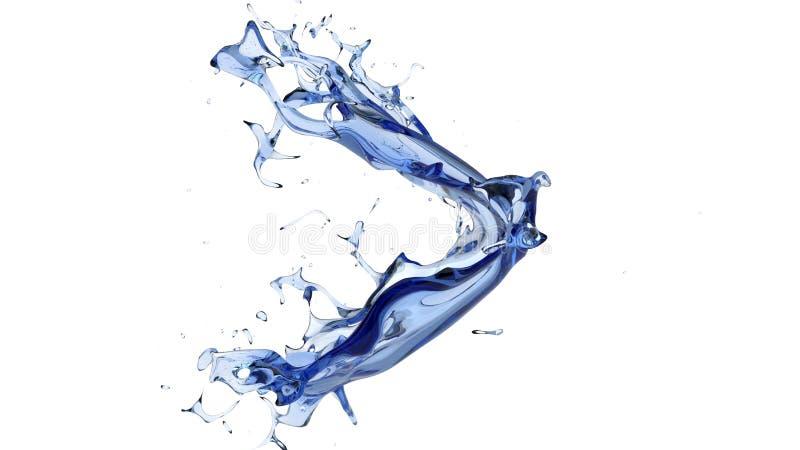 Dark deep blue water curved splash stock images