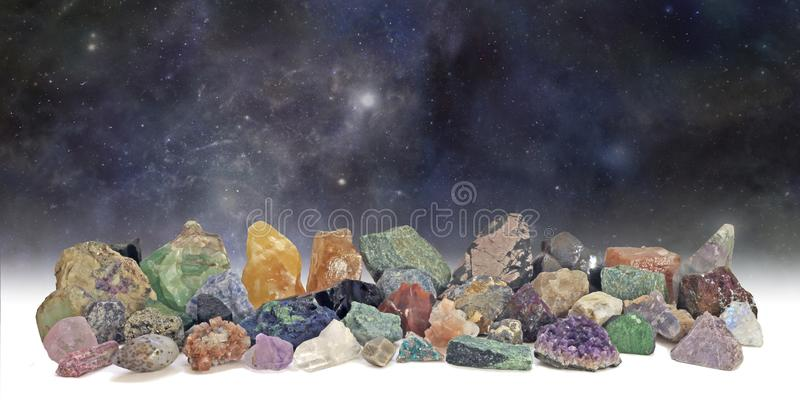 Cosmic Crystals Collection Wide Background royalty free stock image