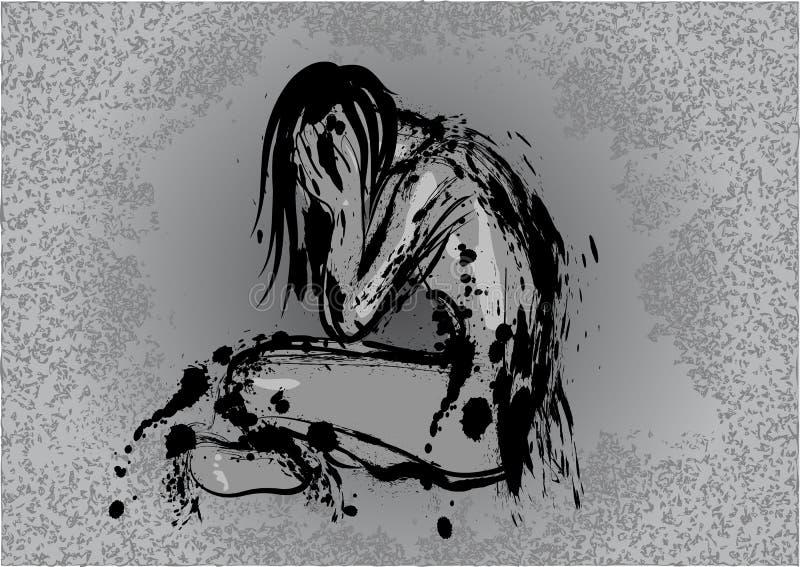 Dark depression stock vector. Illustration of unhappy ...