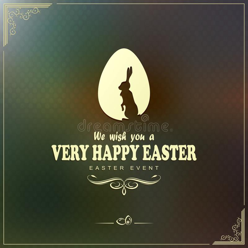 Greeting card with egg, rabbit and happy easter text royalty free illustration