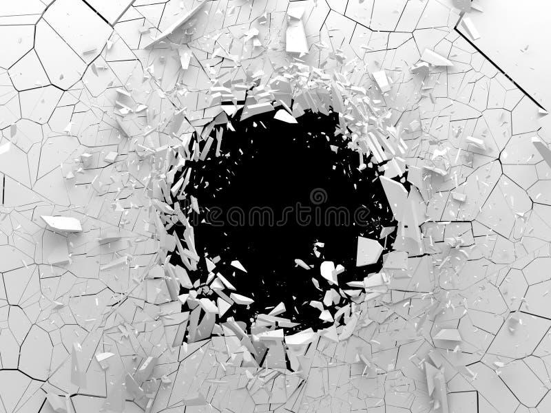 Dark destruction cracked hole in white stone wall. 3d render illustration stock illustration