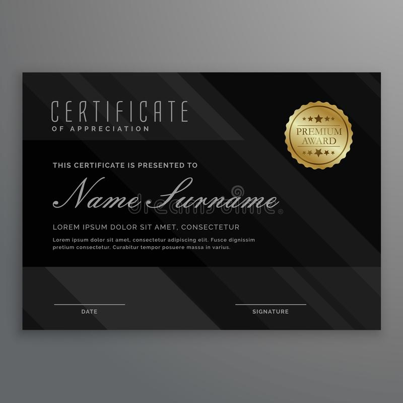 Dark diploma certificate creative design with award symbol. Vector vector illustration