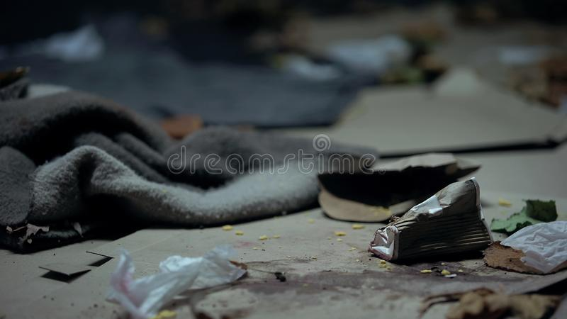 Dark dirty abandoned street full of garbage, area pollution, environment royalty free stock photos