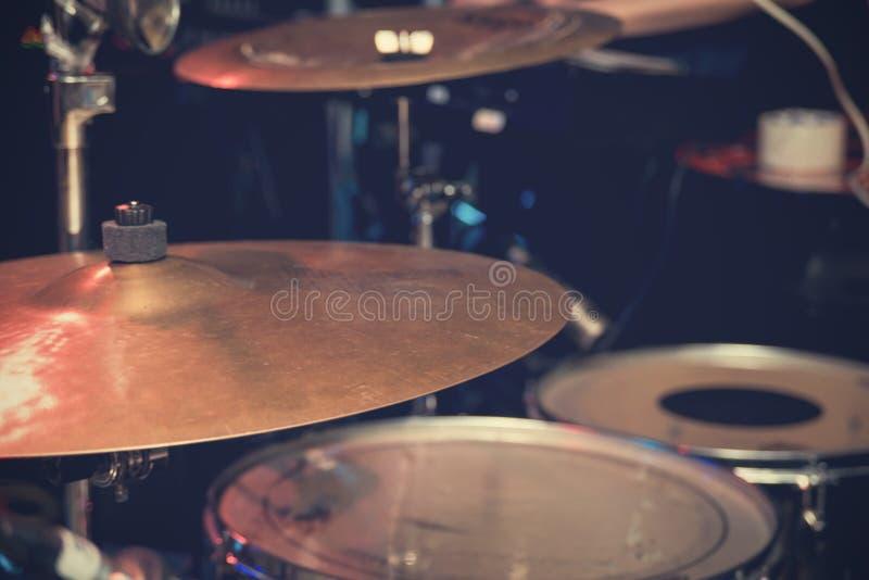 Drum set close up. The dark drum set close up royalty free stock images