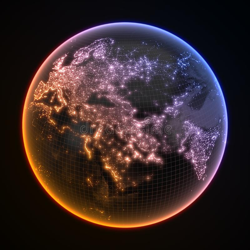 Dark earth globe with glowing details of city and human population density areas. 3d illustration. Dark earth globe with glowing details of city and human royalty free illustration