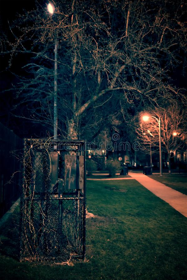 Dark and eerie park at night royalty free stock photos