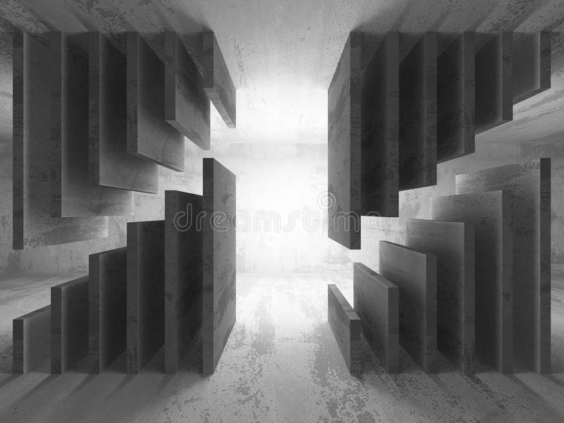 Dark empty basement concrete room interior. Minimalistic architecture background. 3d render illustration vector illustration