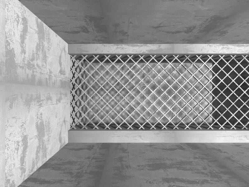 Dark empty room. Concrete rusty walls. Architecture grunge background. 3d render illustration stock illustration