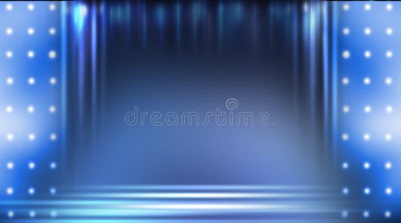 Dark empty scene, blue neon searchlight light, wet asphalt. Smoke, night view, rays royalty free stock photo