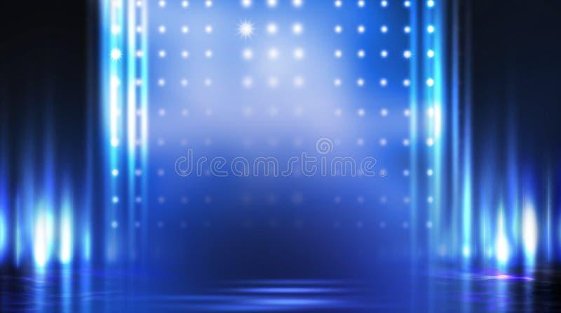 Dark empty scene, blue neon searchlight light, wet asphalt. Smoke, night view, rays royalty free stock photography