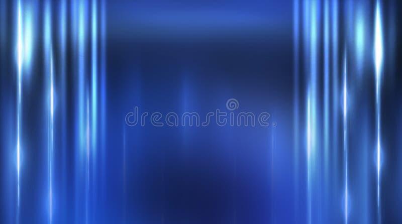 Dark empty scene, blue neon searchlight light, wet asphalt. Smoke, night view, rays stock photo