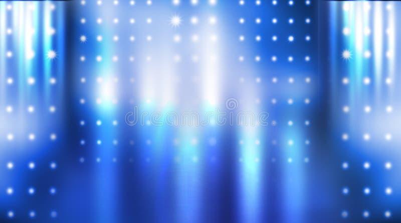 Dark empty scene, blue neon searchlight light, wet asphalt. Smoke, night view, rays royalty free stock image