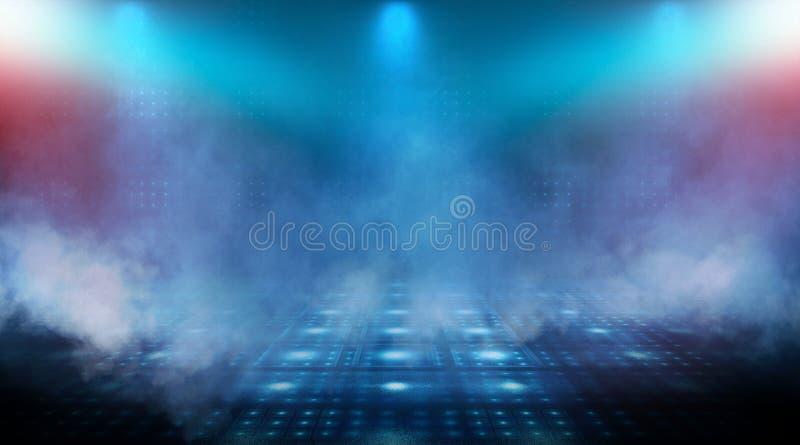Dark empty scene, blue neon searchlight light, wet asphalt. Smoke, night view, rays royalty free stock images