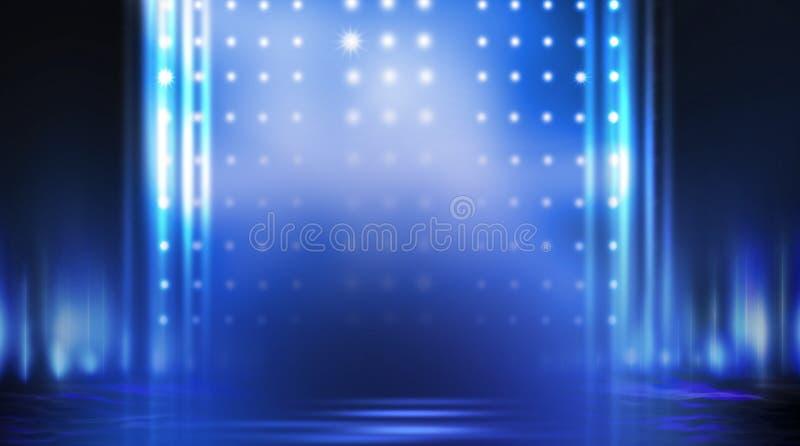 Dark empty scene, blue neon searchlight light, wet asphalt. Smoke, night view, rays royalty free stock photos