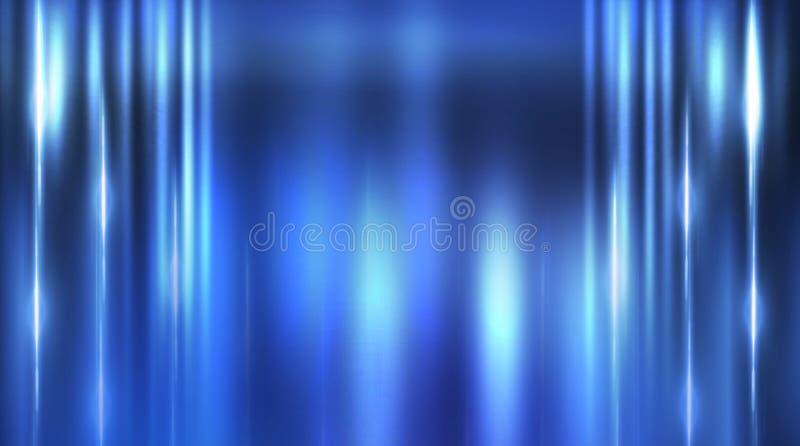 Dark empty scene, blue neon searchlight light, wet asphalt. Smoke, night view, rays stock image