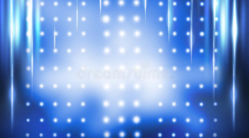 Dark empty scene, blue neon searchlight light, wet asphalt. Smoke, night view, rays stock photos