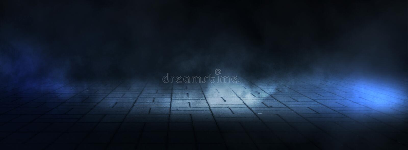 Dark empty stage, street, night smog and smoke, neon light. Dark background of the night city, ray of light in the dark. stock photos