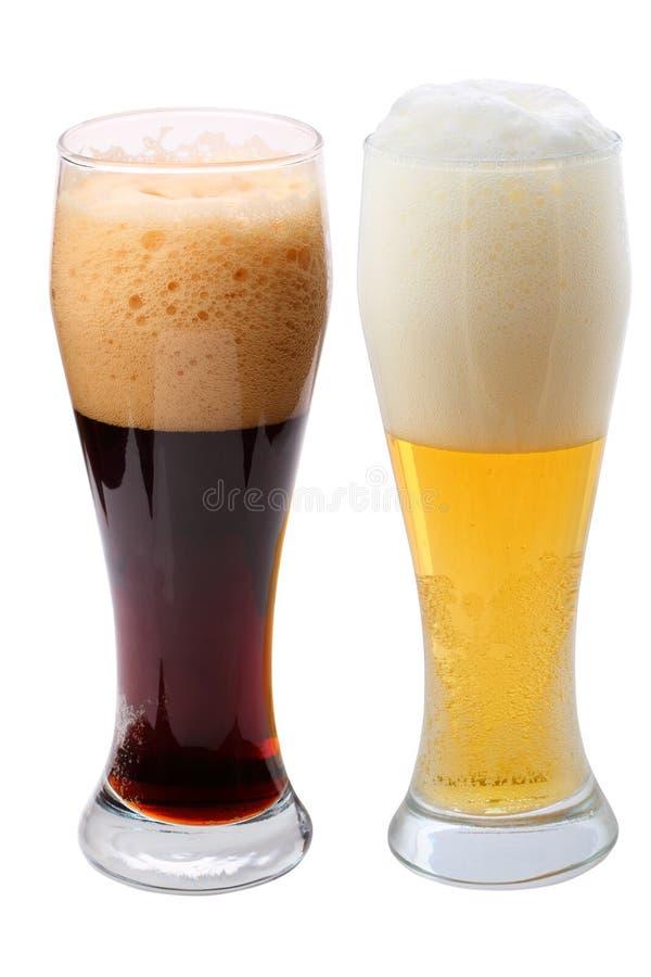 Dark en het bier van het Lagerbier stock afbeeldingen