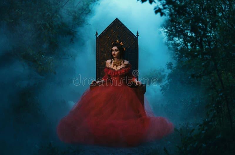 Dark evil queen. Sitting on a luxurious throne,dark boho, wild Princess in red dress , vampire , hip toning , creative color,dark boho stock images