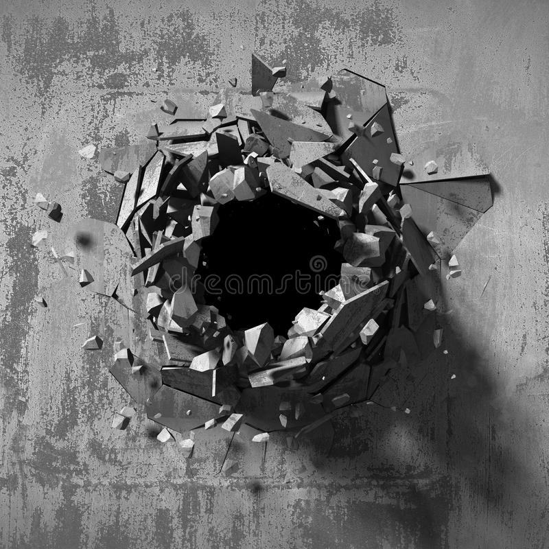 Dark explosion hole of concrete old wall stock illustration