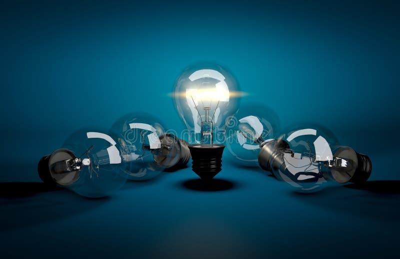 dark för begrepp för hjärnhjärnor har center lampa för leadledarskaplivstid som andra driver strålar föreställer till Glödande lj arkivbilder