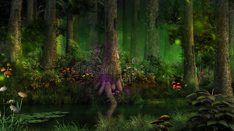 Dark fairytale forest royalty free illustration