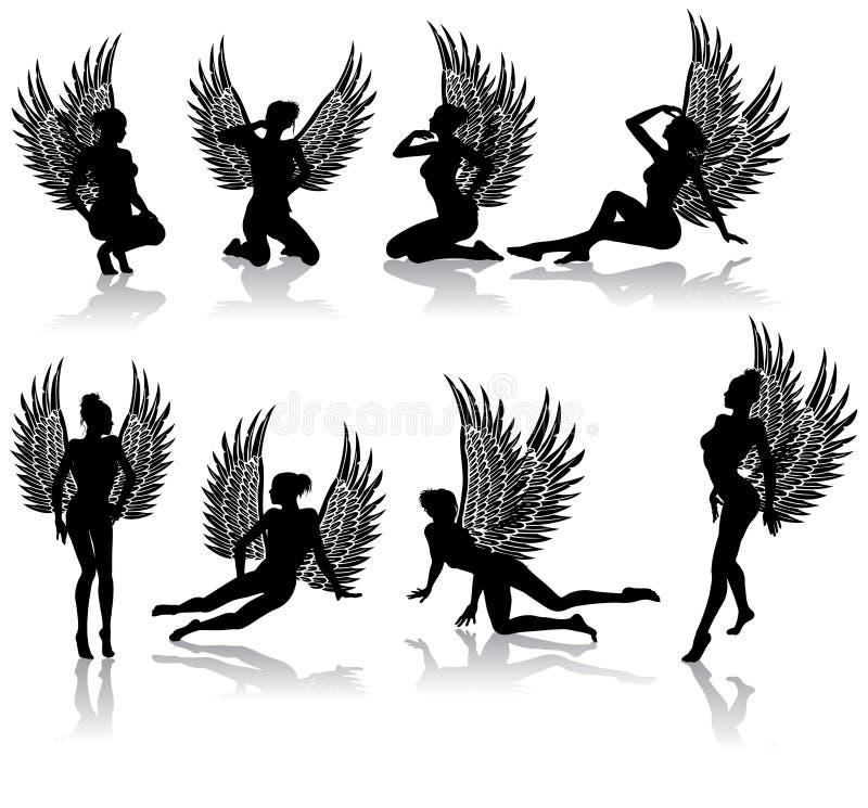 Dark fallen angel. In different poses vector illustration