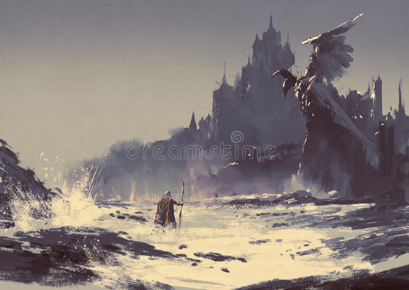 Dark fantasy castle. Illustration painting of king walking through sea beach next to fantasy castle in background