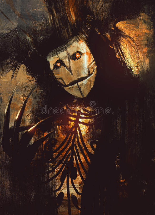 Dark fantasy character. Portrait of a dark fantasy character.digital painting vector illustration