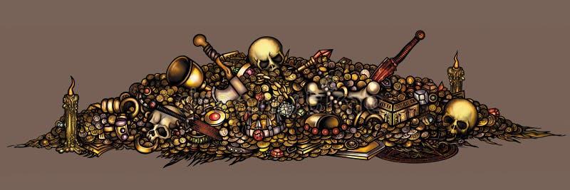 Dark fantasy cursed treasure royalty free illustration