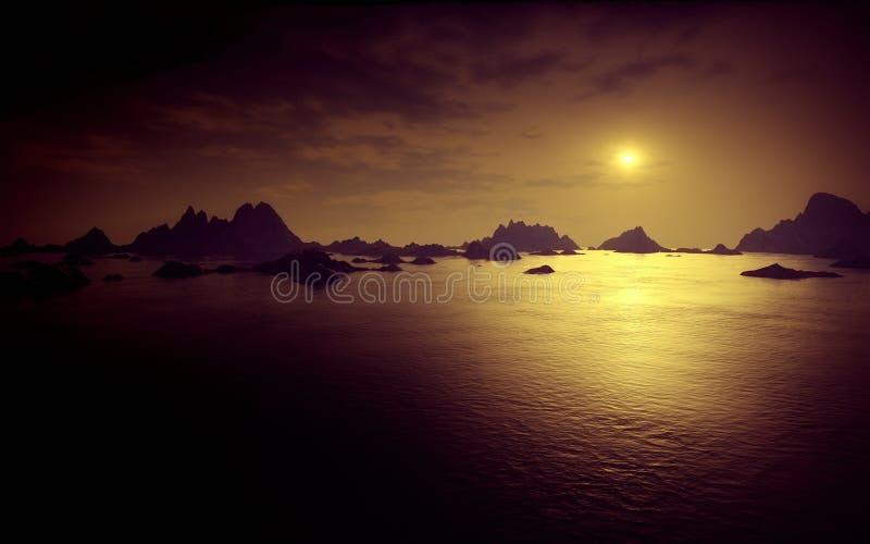 Dark fantasy landscape royalty free illustration