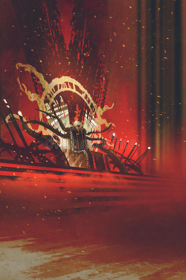 Dark fantasy throne with red curtains stock illustration