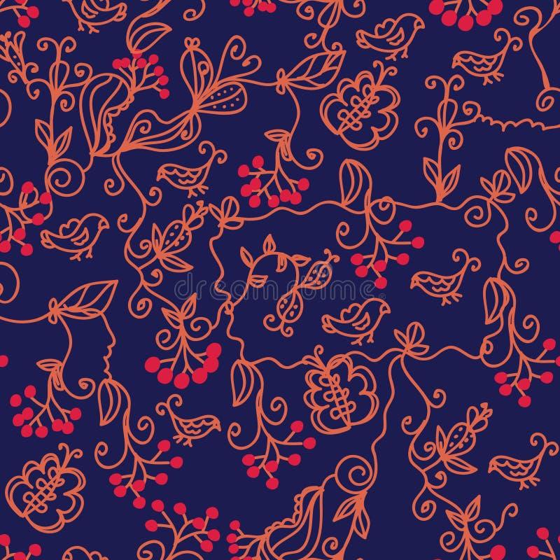 Download Dark Floral Seamless Pattern Stock Vector - Illustration of bright, arrowwood: 15014025