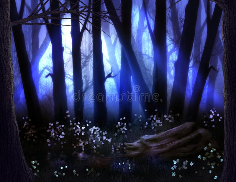 Dark Forest with Fog and Scary Trees on Halloween stock illustration