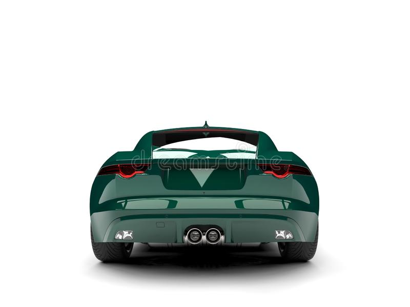 Dark forest green modern concept sports car - back view. Isolated on white background stock illustration
