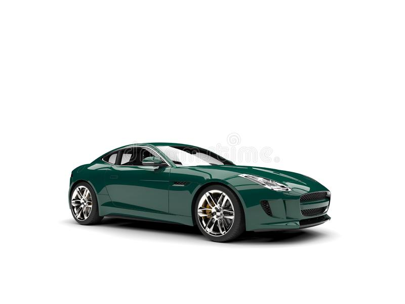Dark forest green modern concept sports car. Isolated on white background royalty free illustration