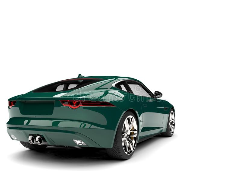 Dark forest green modern concept sports car - rear side view. Isolated on white background vector illustration