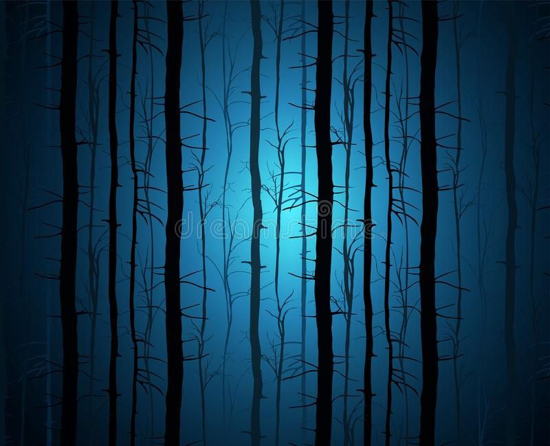 The dark forest illustration. A fantastic landscape with a mysterious blue glow. Tree trunks in blue mist. The dark forest illustration. A fantastic landscape stock illustration