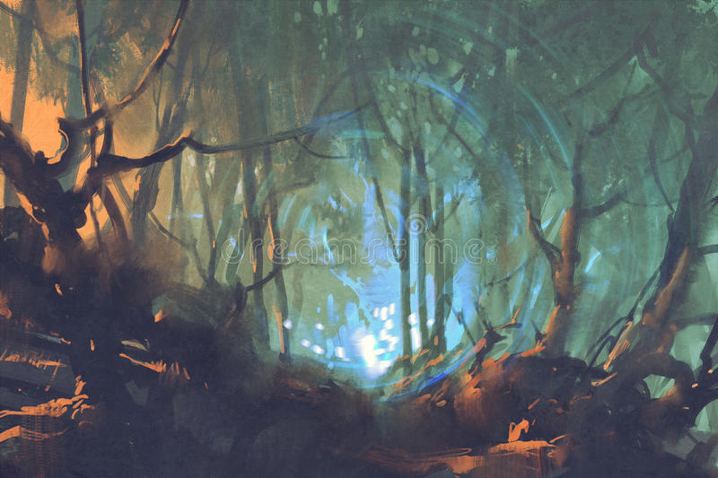 Dark forest with mystic light stock illustration