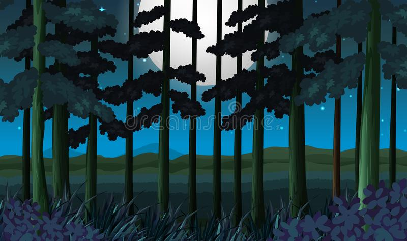 A dark forest at night royalty free illustration