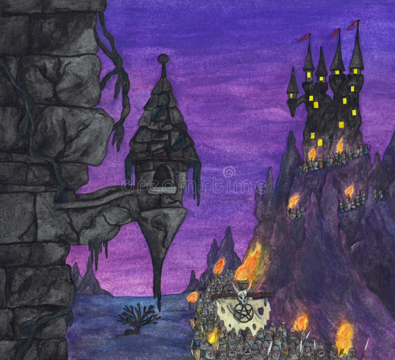 Dark Fortress and Knights (2004). A great army of armed knights leaving their fortress at night and marching through a bizarre surrealistic fantasy landscape stock illustration
