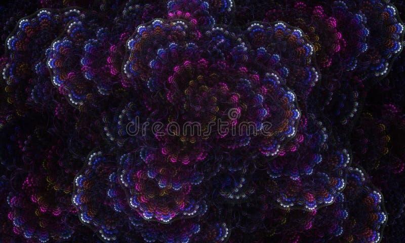 Dark fractal algae flower multicolor 1 royalty free stock photo